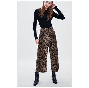 NWT Zara Leopard Print Jeans Cutoffs
